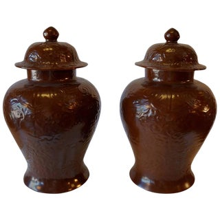 1950s Vintage Chocolate Cachepots - a Pair For Sale