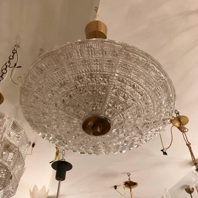 Mid-Century Modern Swedish Orrefors Fagerlund Crystal Glass Pendant For Sale - Image 3 of 7