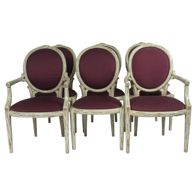 1960s Vintage Faux Bois Dining Chairs- Set of 6 For Sale