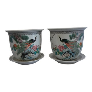 Chinese Painted Porcelain Mirror Images Porcelain Planters - a Pair For Sale