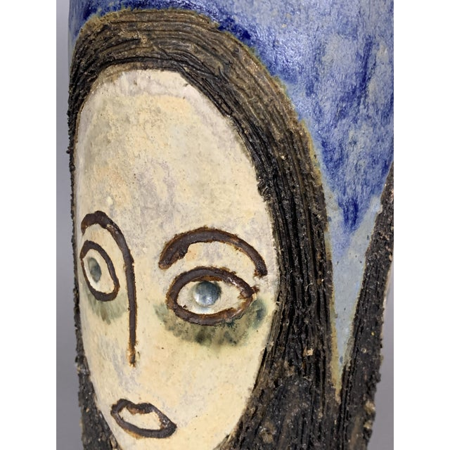 Mid-Century Face Vase, Signed Studio Pottery For Sale - Image 9 of 11