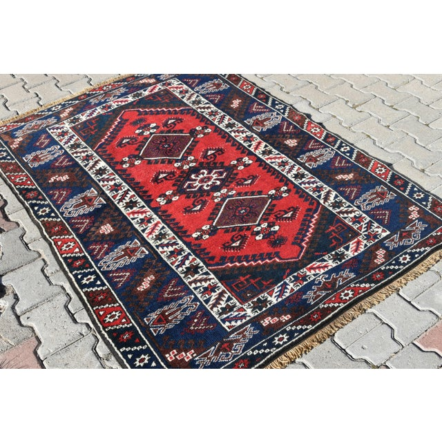 Turkish Oushak Aztec Rug Anatolian Hand Knotted Wool Area Rug Authentic Oriental Rug 4x6 Ft For Sale In San Diego - Image 6 of 11