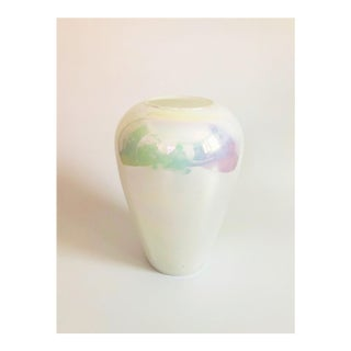 Large White Iridescent Hand Blown Glass Vase For Sale