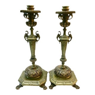 French Baroque Style Bronze Candlesticks - a Pair For Sale