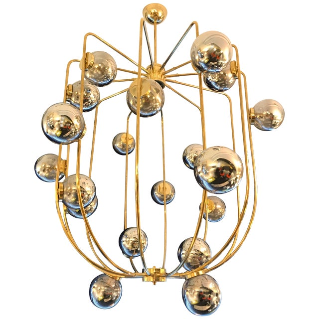 Contemporary Chandelier Brass Cage. Italy For Sale