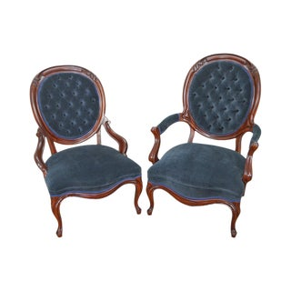 Victorian Style His & Hers Solid Mahogany Frame Arm Chairs - A Pair