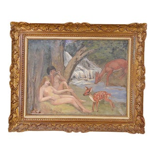 Original Signed Vintage Impressionist Oil on Canvas-Nude Couple in Pastoral Setting-Christie's Tag For Sale