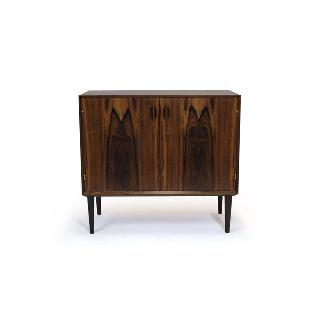 Danish Modern Small Danish Rosewood Cabinet With Brass Hinges For Sale - Image 3 of 11