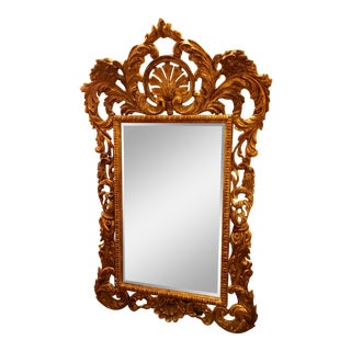 Restored, Rococo Styled, Hand-Carved Giltwood Mirror For Sale