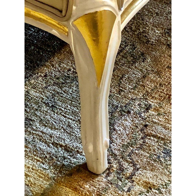 Gilt and Paint Decorated Settee / Loveseat in a Fine Satin Upholstery For Sale - Image 4 of 13