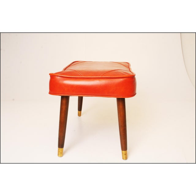 Mid-Century Modern Orange Vinyl Foot Stool - Image 6 of 11