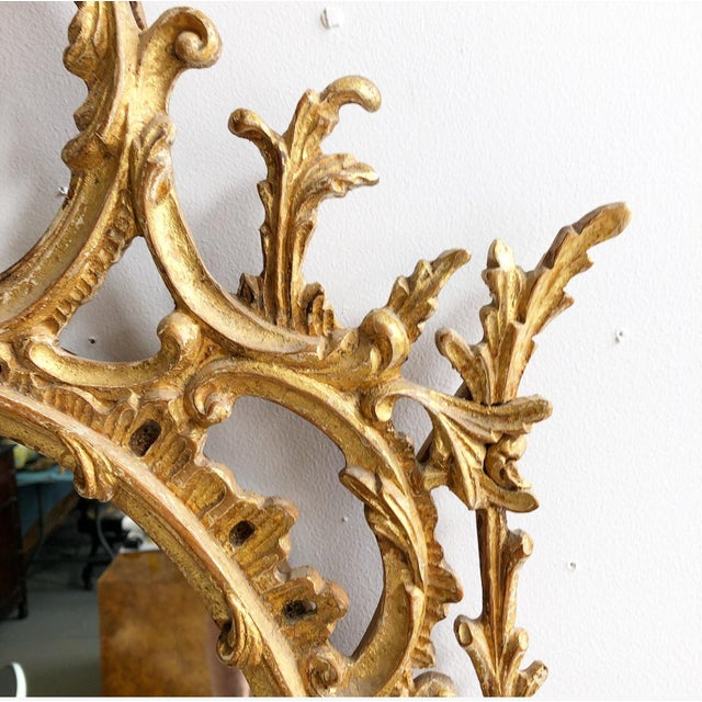 Labarge Vintage LaBarge Oval Pagoda Wooden Carved Chinoiserie Gold Gilded Mirror For Sale - Image 4 of 13