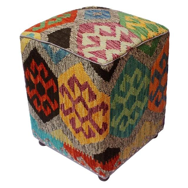 Arshs Curt Black/Ivory Kilim Upholstered Handmade Ottoman For Sale