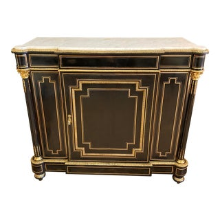 French Napoleon III Credenza Gilt Bronze Mounted Ebonized Wood Cabinet For Sale