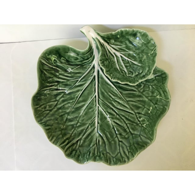 Green Made in Portugal-Majolica Green Cabbage Leaf Serving Platter and Dip Bowl For Sale - Image 8 of 11