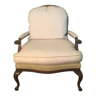 Neutral Ivory Upholstered Bergere Chair - Two Available For Sale