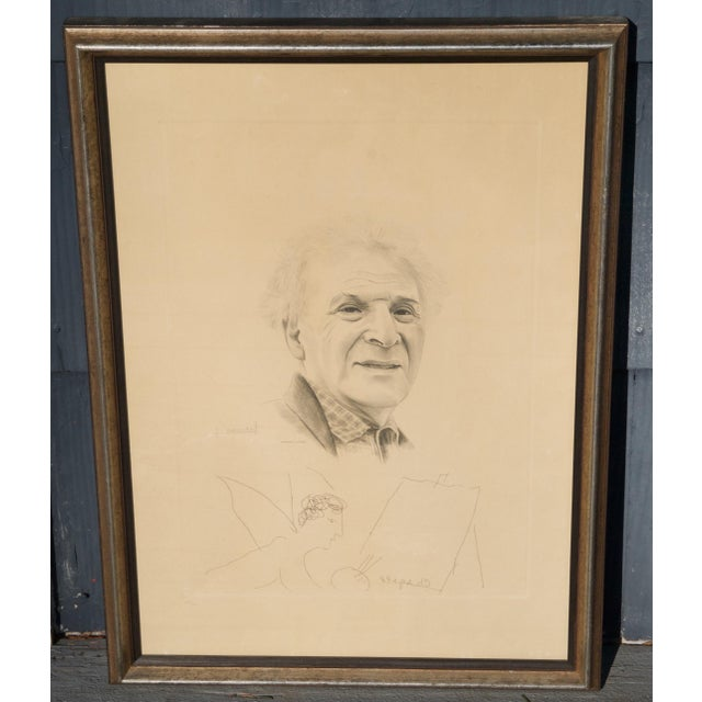 Mid 20th Century Engraving of Marc Chagall by Jacques Combet With Chagall Sketch For Sale - Image 9 of 9