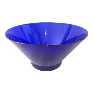 Vintage Cobalt Salad/Snack Bowl For Sale