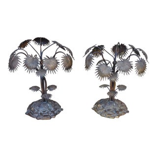 Vintage Bronze Palm Tree Like Sculptures -A Pair For Sale