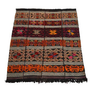 """Antique Anatolian Embossed Rug Hand Knotted - Hand Woven Rare - 4'8"""" X 5'1"""" For Sale"""