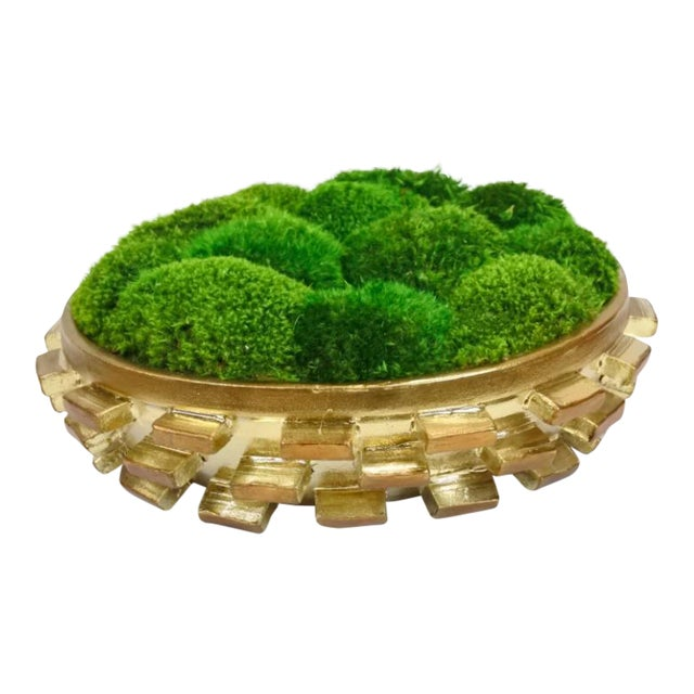 Goldleaf Cermaic Bowl With Preserved Moss - Image 1 of 3