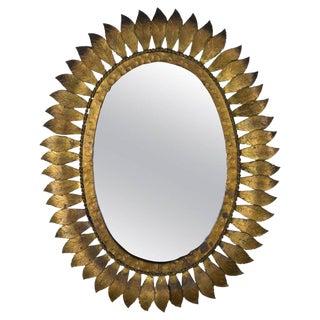 1950s Spanish Gilt Metal Sunburst Mirror For Sale