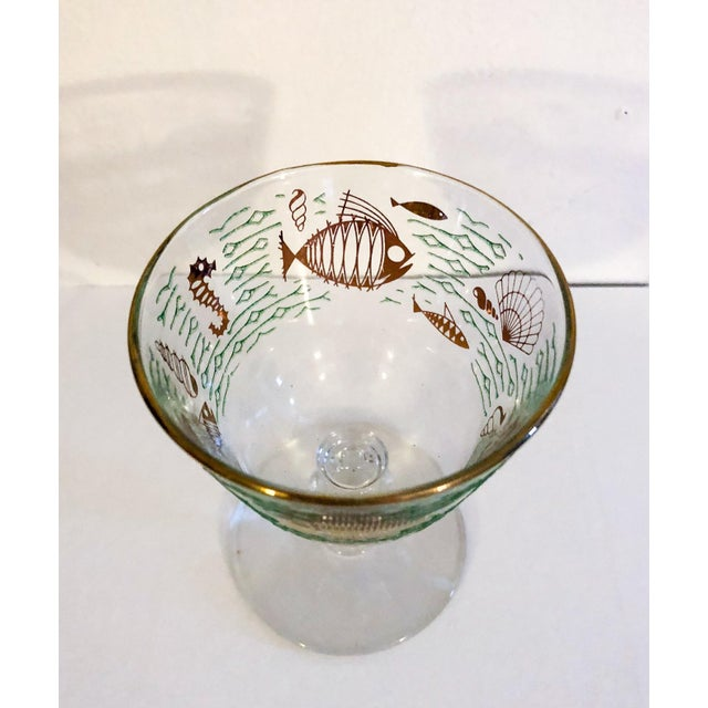 Fun set of 5 small stemmed cocktail glasses decorated with fish, sea horses, shells and water graphics, midcentury modern,...