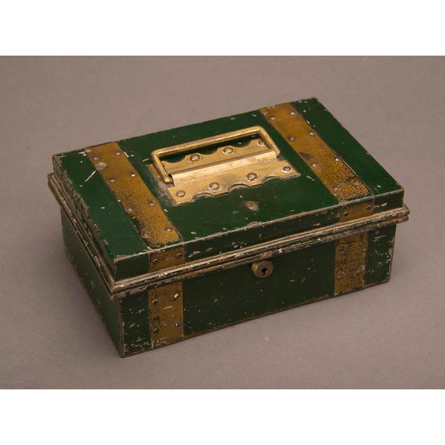 """Street Vendor's """"Cash"""" Hinged Metal Box, Painted Finish, England c. 1890 For Sale - Image 4 of 8"""