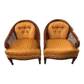 1970s Vintage Key City Gold Caned Barrel Chairs-A Pair For Sale