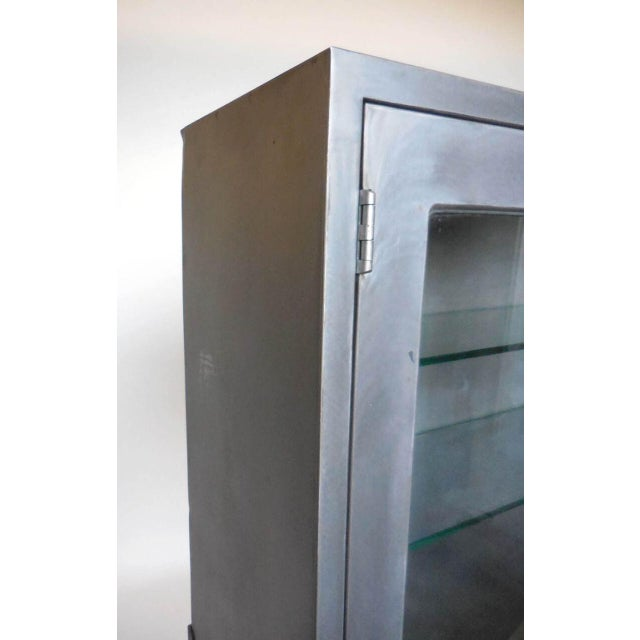 Excellent Vintage Metal Dentist Cabinet With Glass Doors And Custom