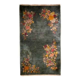 1920s Handmade Antique Art Deco Chinese Rug 2.10' X 4.10' For Sale