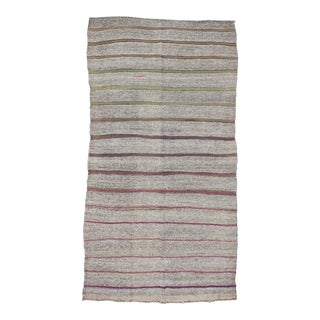 1960s Turkish Striped Gray Kilim Rug For Sale