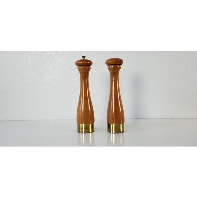 Gold Italian Mid-Century Danish Salt and Pepper Shakers a Pair For Sale - Image 8 of 8
