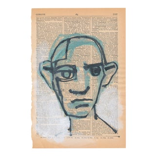 Contemporary Portrait Ink Drawing on Vintage Paper For Sale