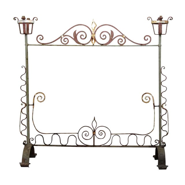 20th Century Traditional Wrought Iron Fire Place Screen For Sale