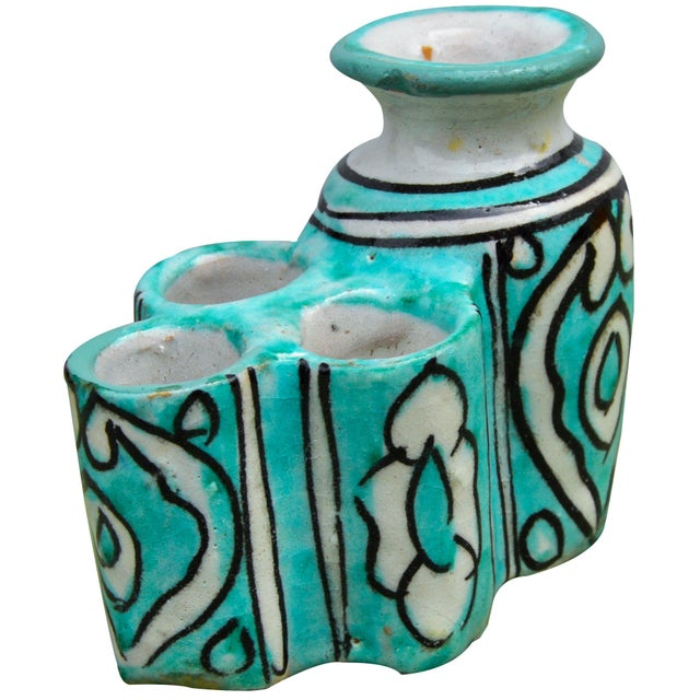 Late 20th Century Moroccan Ceramic Inkwell & Candle Holder For Sale - Image 5 of 9