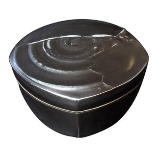 Chris Staley Square Black Lidded Jar, Signed For Sale