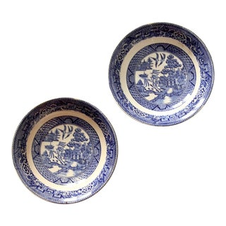 1940s Homer Laughlin Blue Willow Bowls - Set of 2 For Sale