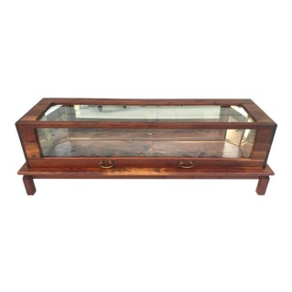 Vintage Danish Wood and Glass Impressive Curio Display Cabinet For Sale