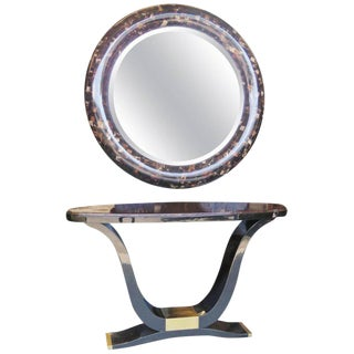 Enrique Garcel Tassellated Horn Console and Mirror For Sale
