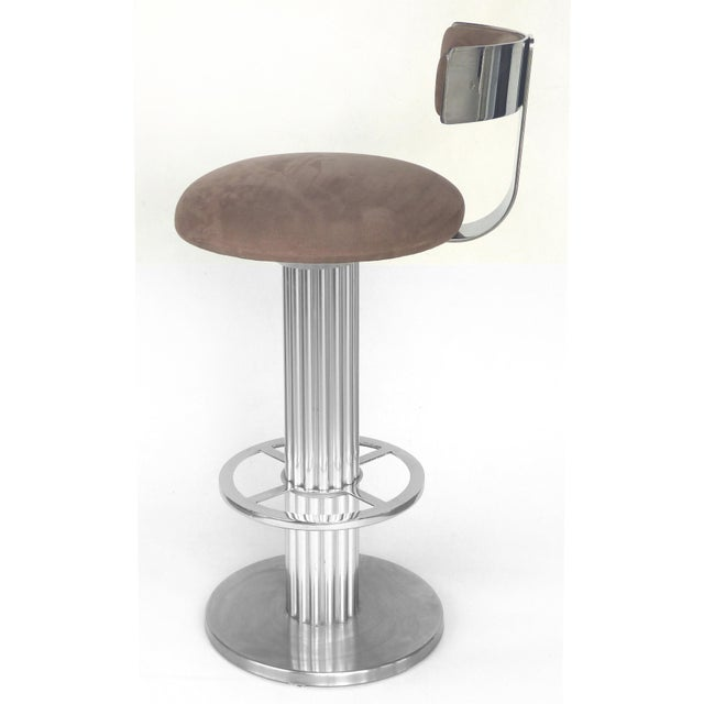 Mid-Century Modern Designs for Leisure Brushed Stainless Steel Bar Stools 1980s- Set of 3 For Sale - Image 3 of 13