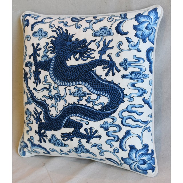 """Late 20th Century Italian Chinoiserie Scalamandre Dragon Feather/Down Pillow 19"""" Square For Sale - Image 5 of 8"""