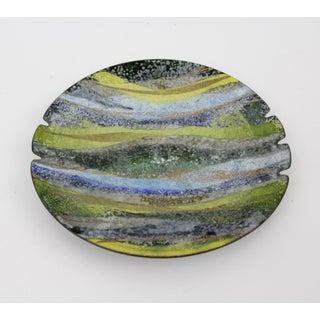 Prima Enamel Ashtray Dish Blue Green Gold Mid Century Modern Preview