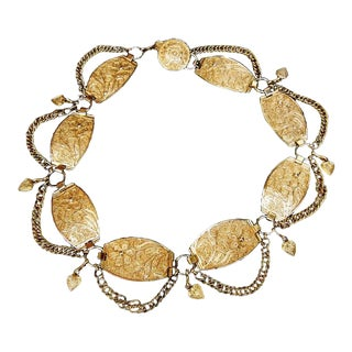 Neiman Marcus Italian Gilt Link Medallion Belt For Sale