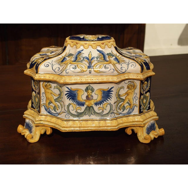Gold 19th Century Italian Renaissance Style Majolica Box For Sale - Image 8 of 12