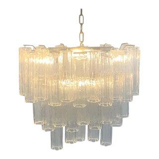 Stunning Oval Italian Venini Murano Glass Tubes Chandelier Light Fixture For Sale