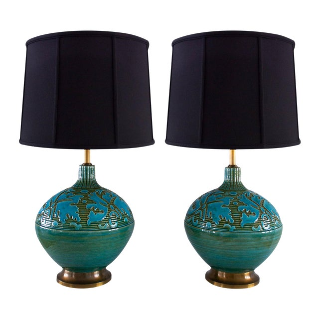 Retro Blue Green Sphere Lamps - A Pair - Image 1 of 5
