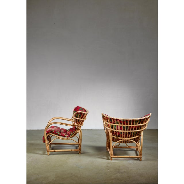 Pair of Bamboo and Rattan Lounge Chairs, Sweden, 1940s For Sale - Image 4 of 8
