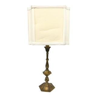 Vintage Art Deco Style Brass Table Lamp With Shade For Sale