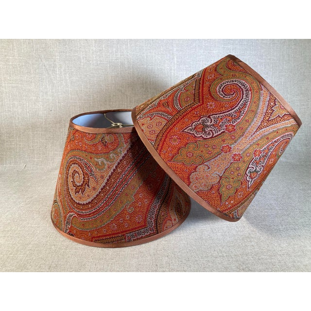 Antique Paisley Lamp Shades - A Pair For Sale In Philadelphia - Image 6 of 6